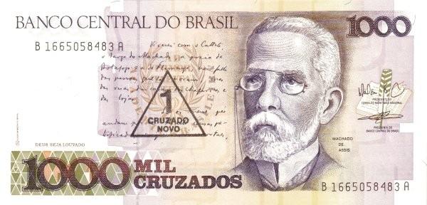 """Brazil 1 Cruzado Novo (1989 Overprint """"Cruzado Novo"""" Provisional)"""