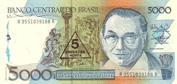 "Brazil 5 Cruzados Novos (1989 Overprint ""Cruzado Novo"" Provisional)"
