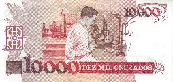 "Brazil 10 Cruzados Novos (1989 Overprint ""Cruzado Novo"" Provisional)"