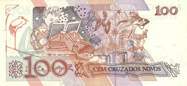 """Brazil 100 Cruzados Novos (1989-1990 Regular """"Cruzado Novo"""")"""