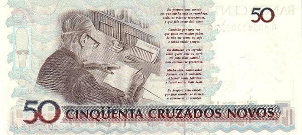 "Brazil 50 Cruzeiros (1990 Overprint ""Cruzeiro"" Provisional)"