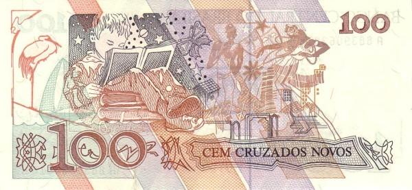 "Brazil 100 Cruzeiros (1990 Overprint ""Cruzeiro"" Provisional)"