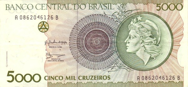"Brazil 5000 Cruzeiros (1992 ""República"")"