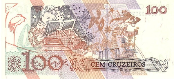 """Brazil 100 Cruzeiros (1990-1993 Regular """"Cruzeiro"""")"""