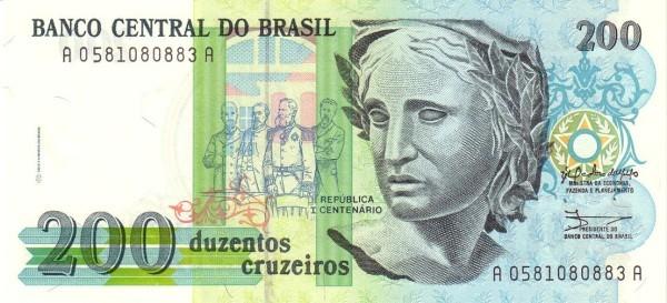 """Brazil 200 Cruzeiros (1990-1993 Regular """"Cruzeiro"""")"""