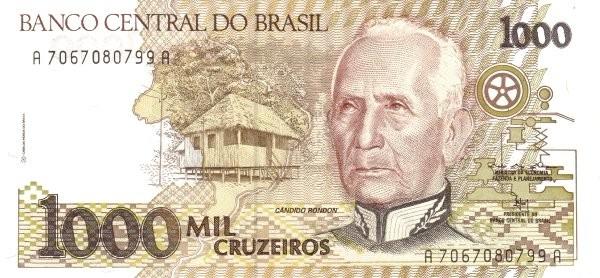"""Brazil 1000 Cruzeiros (1990-1993 Regular """"Cruzeiro"""")"""