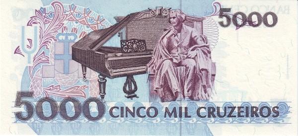 """Brazil 5000 Cruzeiros (1990-1993 Regular """"Cruzeiro"""")"""