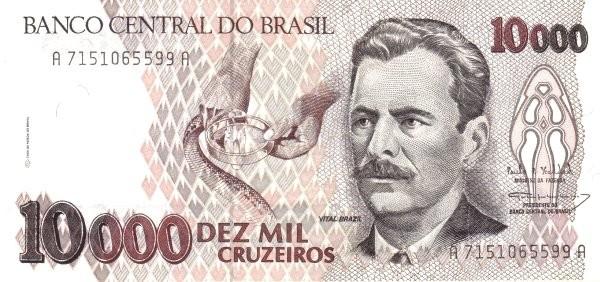 """Brazil 10000 Cruzeiros (1990-1993 Regular """"Cruzeiro"""")"""