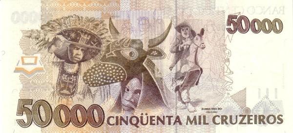 """Brazil 50000 Cruzeiros (1990-1993 Regular """"Cruzeiro"""")"""