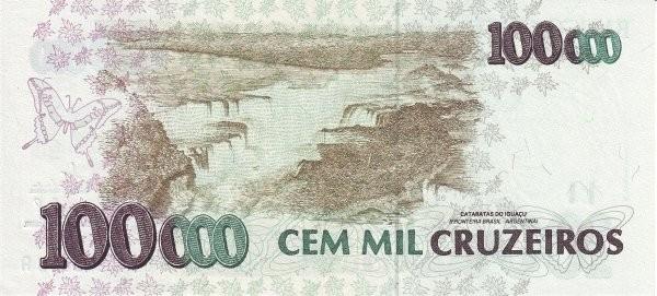 """Brazil 100000 Cruzeiros (1990-1993 Regular """"Cruzeiro"""")"""
