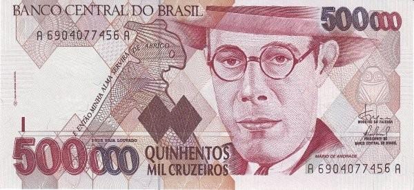 """Brazil 500000 Cruzeiros (1990-1993 Regular """"Cruzeiro"""")"""