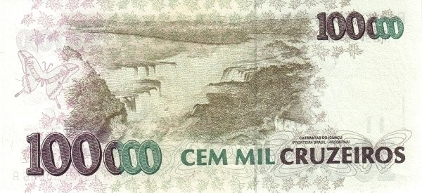 "Brazil 100 Cruzeiros Reais (1993 Overprint ""Cruzeiro Real"" Provisional)"