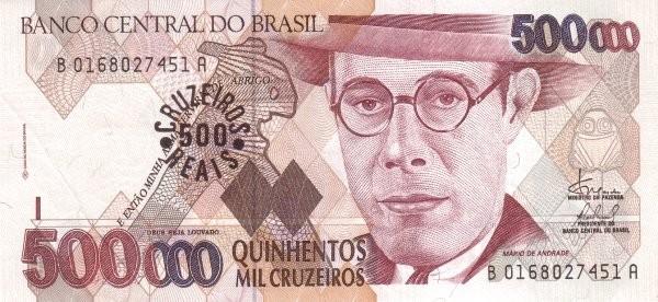 "Brazil 500 Cruzeiros Reais (1993 Overprint ""Cruzeiro Real"" Provisional)"