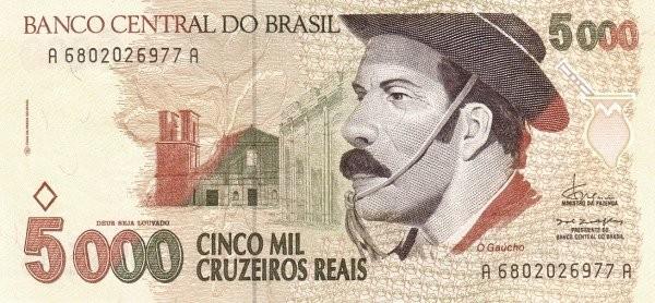 "Brazil 5000 Cruzeiros Reais (1993-1994 Regular ""Cruzeiro Real"")"