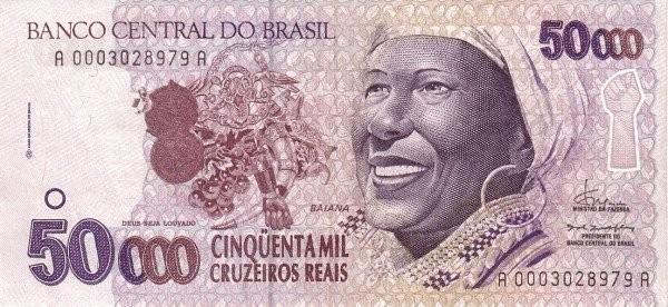 "Brazil 50000 Cruzeiros Reais (1993-1994 Regular ""Cruzeiro Real"")"