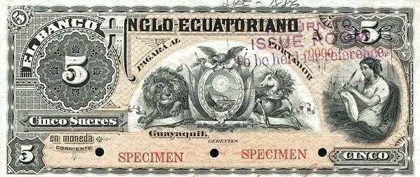 Ecuador 5 Sucres (1886 Commercial Banks)