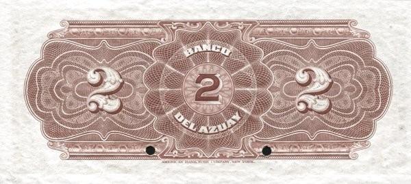 Ecuador 2 Sucres (1914-1924 Banco del Azuay-Commercial Banks)