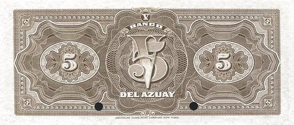 Ecuador 5 Sucres (1914-1924 Banco del Azuay-Commercial Banks)