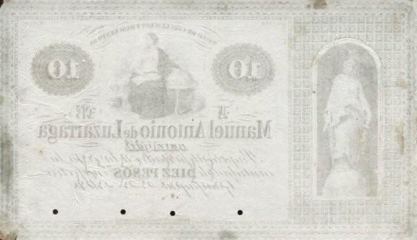 Ecuador 10 Pesos (Banco de Circulación y Descuento de Manuel Antonio de Luzarraga-Commercial Banks)