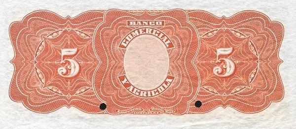 Ecuador 5 Sucres (1903-1925 Banco Comerical y Agrícola-Commercial Banks)