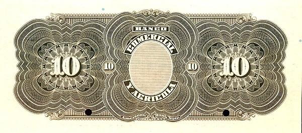 Ecuador 10 Sucres (1903-1925 Banco Comerical y Agrícola-Commercial Banks)
