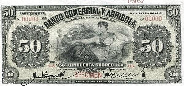 Ecuador 50 Sucres (1903-1925 Banco Comerical y Agrícola-Commercial Banks)