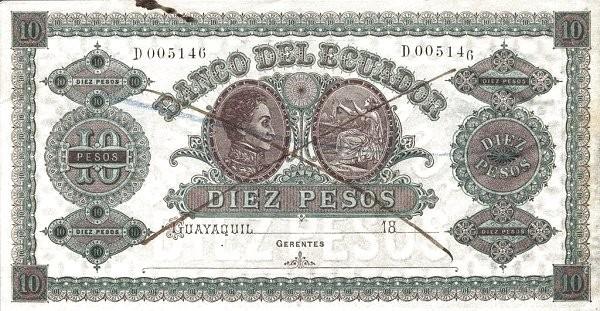 Ecuador 10 Pesos (1870 Banco del Ecuador-Commercial Banks)