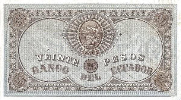 Ecuador 20 Pesos (1870 Banco del Ecuador-Commercial Banks)
