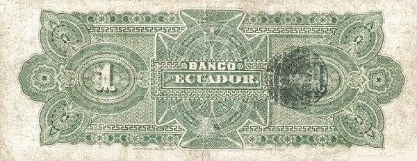 Ecuador 1 Sucre (1887-1926 Banco del Ecuador-Commercial Banks)
