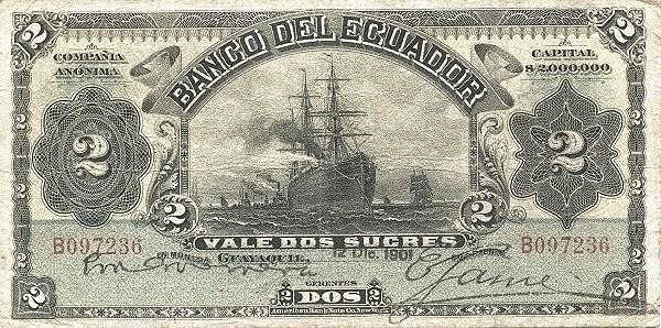 Ecuador 2 Sucres (1887-1926 Banco del Ecuador-Commercial Banks)