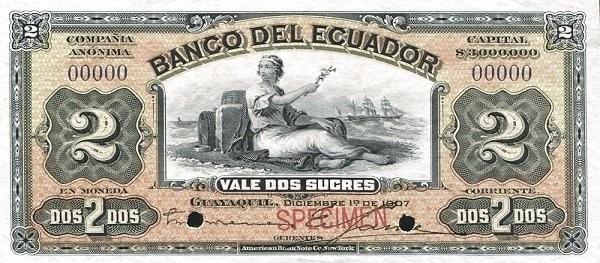 Ecuador 2 Sucres (1887-1926 Banco del Ecuador-Commercial Banks Orange)