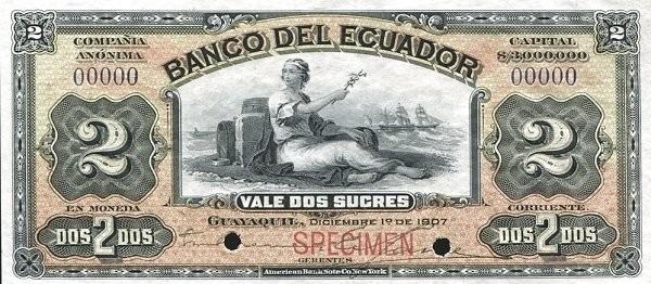 Ecuador 2 Sucres (1887-1926 Banco del Ecuador-Commercial Banks Olive)
