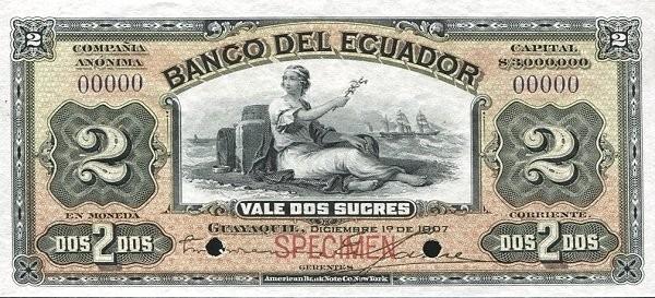 Ecuador 2 Sucres (1887-1926 Banco del Ecuador-Commercial Banks Green)