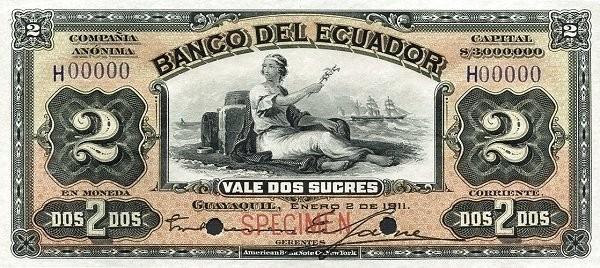 Ecuador 2 Sucres (1887-1926 Banco del Ecuador-Commercial Banks Orange Color)