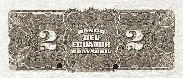 Ecuador 2 Sucres (1887-1926 Banco del Ecuador-Commercial Banks Brown)