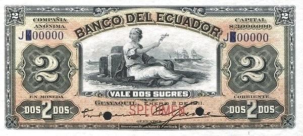 Ecuador 2 Sucres (1887-1926 Banco del Ecuador-Commercial Banks Red)