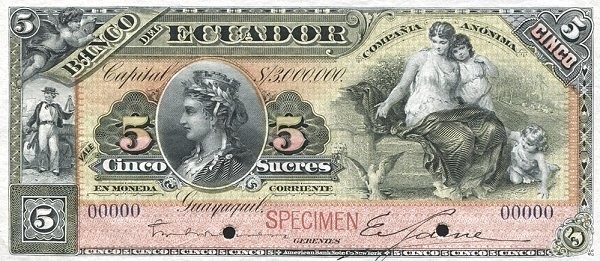 Ecuador 5 Sucres (1887-1926 Banco del Ecuador-Commercial Banks)