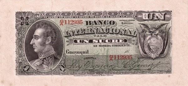 Ecuador 10 Sucres (1886-1894 Banco Internacional-Commercial Banks)