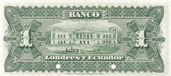 Ecuador 1 Sucre (1887 Banco de Londres y Ecuador-Commercial Banks)