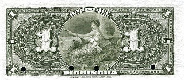 Ecuador 1 Sucre (1916  Banco del Pichincha-Commercial Banks)