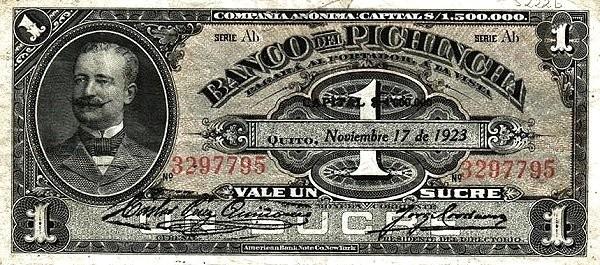 Ecuador 1 Sucre (1924  Banco del Pichincha-Commercial Banks)