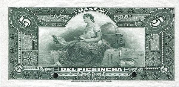Ecuador 5 Sucres (1912-1924 Banco del Pichincha-Commercial Banks)