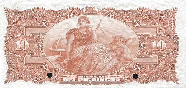 Ecuador 10 Sucres (1912-1924 Banco del Pichincha-Commercial Banks)