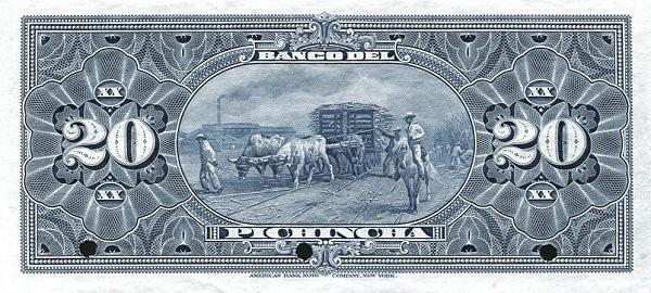 Ecuador 20 Sucres (1912-1924 Banco del Pichincha-Commercial Banks)