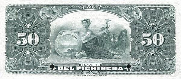 Ecuador 50 Sucres (1912-1924 Banco del Pichincha-Commercial Banks)
