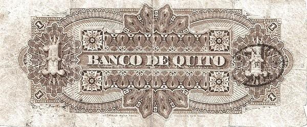 Ecuador 1 Peso (1880 Banco de Quito-Commercial Banks)