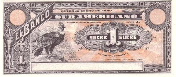 Ecuador 1 Sucre (1920 Banco Suramericano-Commercial Banks)