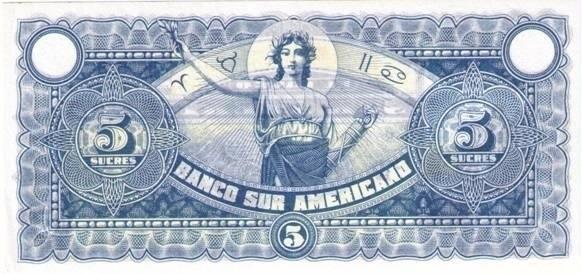 Ecuador 5 Sucres (1920 Banco Suramericano-Commercial Banks)