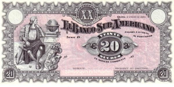 Ecuador 20 Sucres (1920 Banco Suramericano-Commercial Banks)