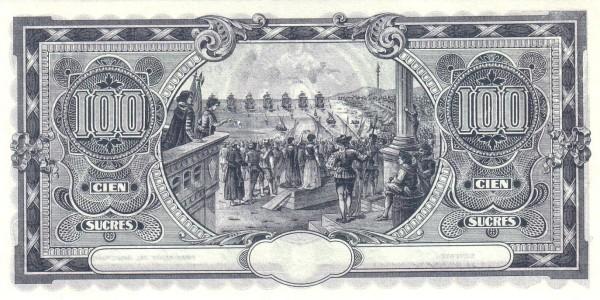 Ecuador 100 Sucres (1920 Banco Suramericano-Commercial Banks)